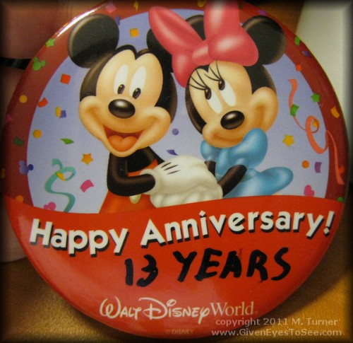 Happy Anniversary button from Walt Disney World