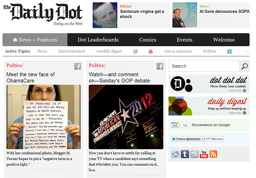 screenshot of the daily dot's home page with my I am ObamaCare image article featured