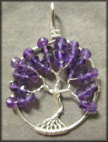 Amethyst Gemstone Tree of Life Pendant February Tree February Birthstone