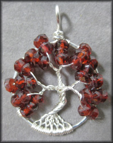 Garnet Gemstone Tree of Life Pendant January BIrthstone