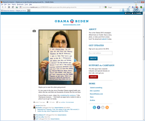 I am Obamacare sign 34 year old woman tumors uterus featured Obama for America official tumblr page