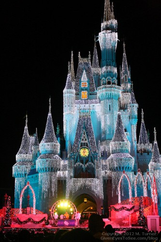 DJ on the stage in front of Cinderella Castle, New Year's Eve 2013.