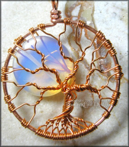 Opalite Rainbow Moonstone Full Moon Tree of Life pendant in Copper by PhoenixFire Designs