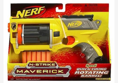 Nerf Maverick gun before modifying it to be a Steampunk ray gun.