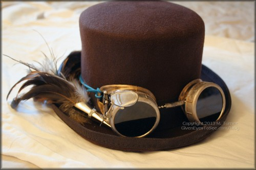 My completed top hat and painted steampunk goggles!
