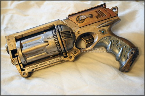 My modified steampunk Nerf Maverick gun finished!