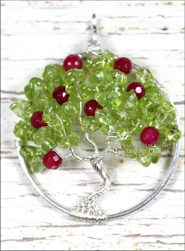 Apple Tree pendant with peridot and ruby red jade