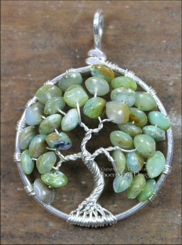 Natural Green Opal Tree Jewelry Tree of Life Pendant