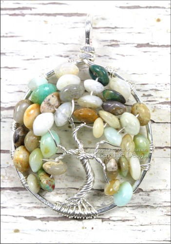 Natural Multi Opal (Moss Opal, Blue Opal) Tree of Life Pendant in Silver