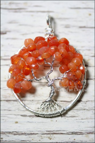 Orange Red Carnelian Tree of Life Pendant