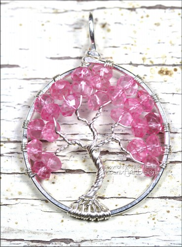 """Tree of Hope"" Pink Topaz Tree of Life Pendant"