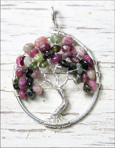 Watermelon Tourmaline Tree of Life Pendant