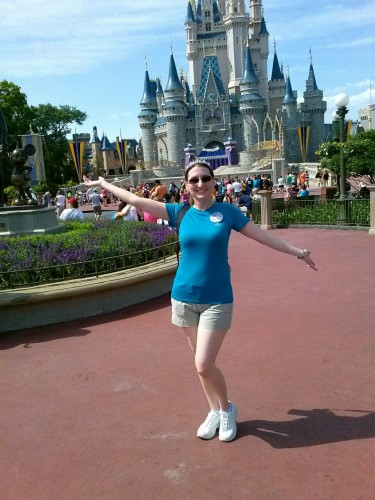 A silly pic Love took of me with my cell phone in front of Cinderella Castle.