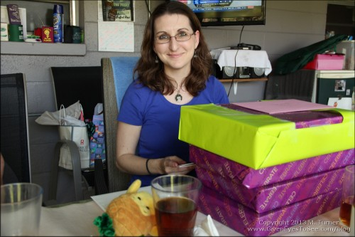 Me with my birthday presents! (My sister took this shot.)