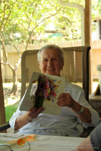 Nanny showing off one of her Mother's Day cards. (Nanny is 96!)