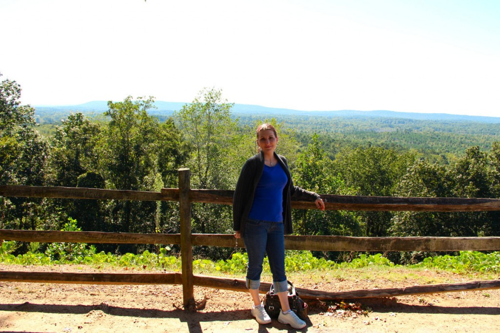 Me at the lookout across from the Callaway Gardens Country Store. It was chilly in the mornings, hence the sweater!