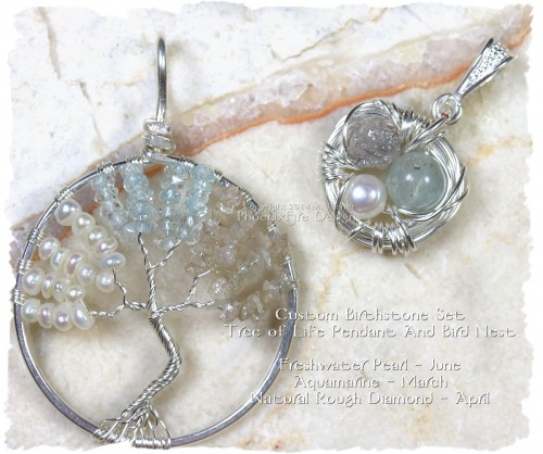 Custom Birthstone Tree of Life Pendant and Matching Bird Nest Pendant set in sterling silver and featuring freshwater pearl (birthstone for June), Aquamarine (birthstone for March) and natural rough diamond (birthstone for April.) Bird nest has the same three gemstones. By PhoenixFire Designs