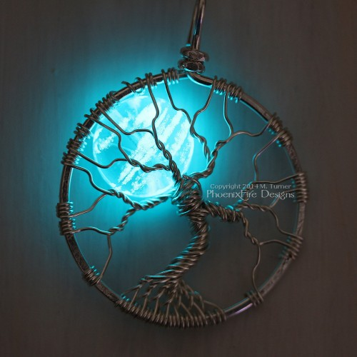 Glow in the dark tree of life pendant, wire wrapped  pendant handmade by PhoenixFire Designs on etsy.