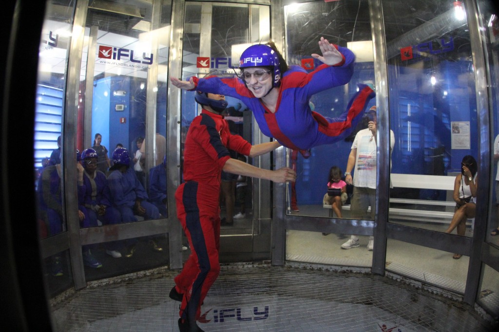 photo of miss m. turner indoor skydiving, wind tunnel, flying inside, airborne ifly orlando