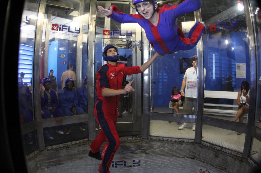 photo of me indoor skydiving and flying on air in the wind tunnel at iFly Orlando