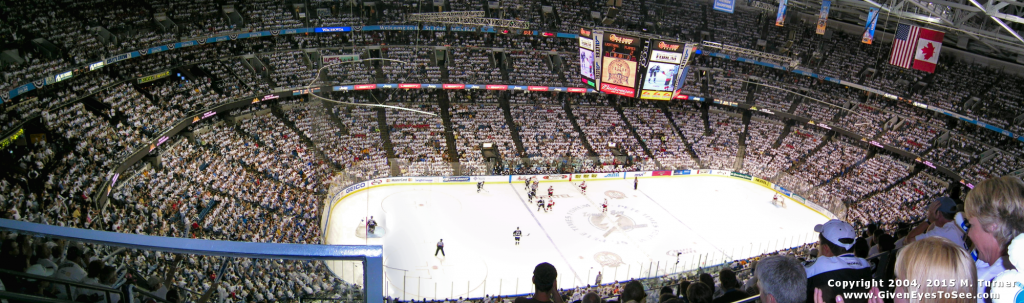 photo of game 5 Stanley Cup Finals nhl Tampa Bay Lightning 2004 panorama pano pic home ice, inside stadium, arena crowds, whiteout, white out go bolts game