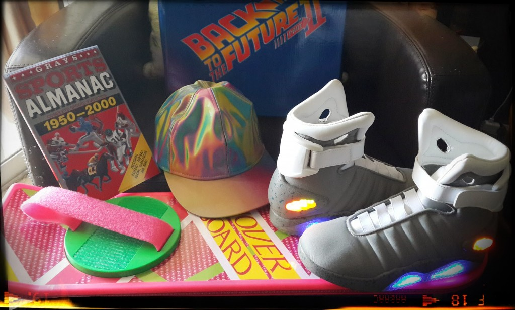 A taste of the future! Hoverboard, Light up shoes and 2015 Mart McFly Jr holographic hat.