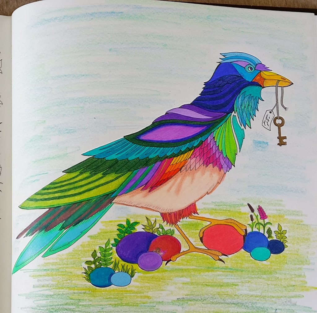 "Colored ""crow"" bird page from Enchanted Forest Coloring Book"