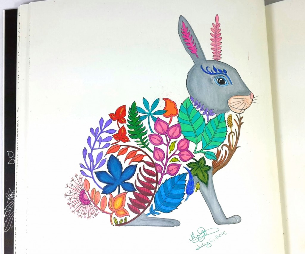 Completely coloring page of floral bunny rabbit from the Enchanted Forest Coloring Book