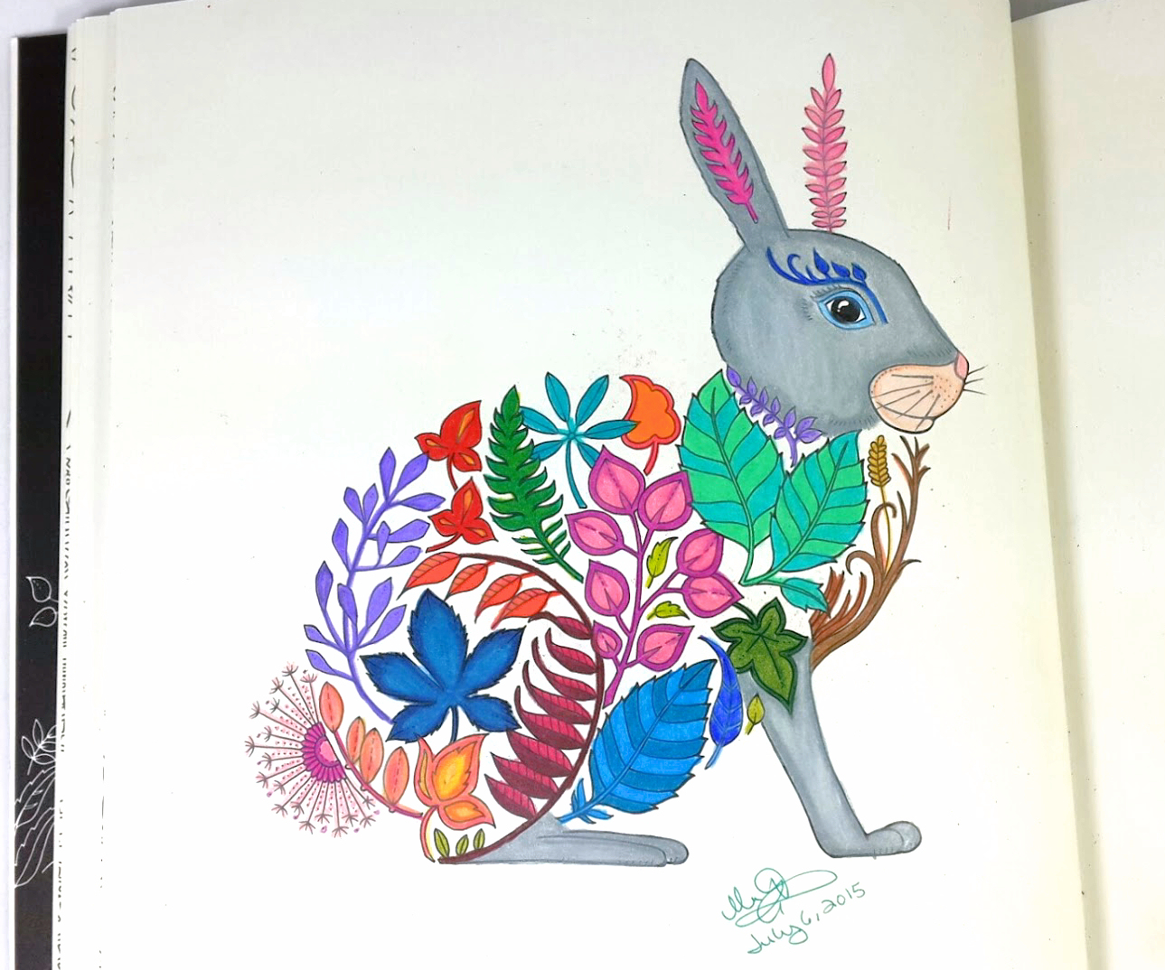 Completely Coloring Page Of Floral Bunny Rabbit From The Enchanted Forest Book