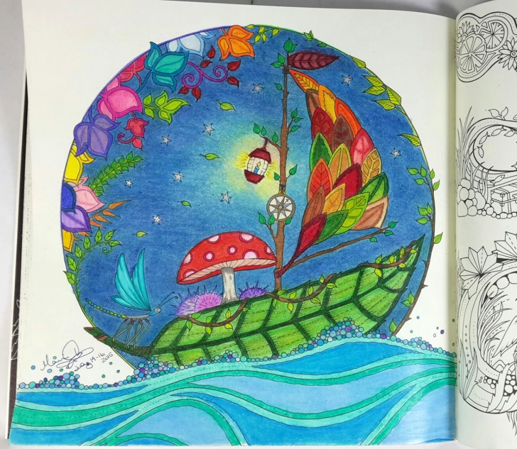 Finished color page of the leaf sailboat from the Enchanted Forest Coloring Book