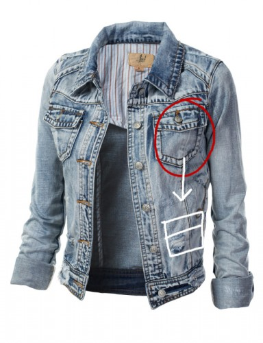Almost all jean or denim jackets for women have pockets up on the chest but for my female Marty McFly cosplay jacket I needed them to be lower in position closer to the waist.