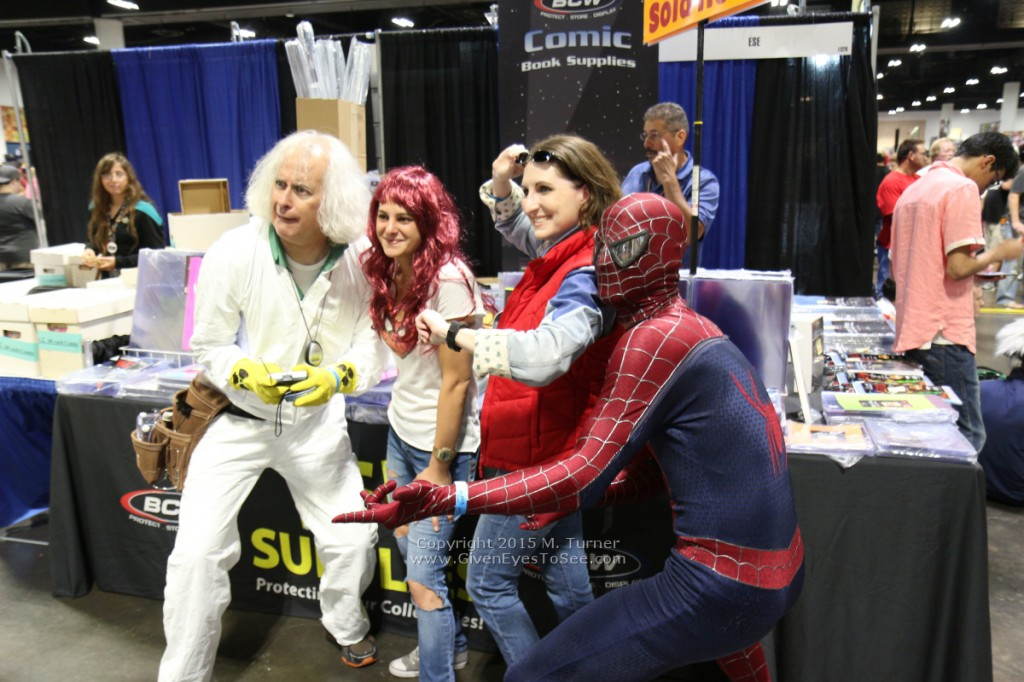 Doctor Emmet L Brown, Marty McFly and...Spiderman? At Tampa Bay Comic Con, August 2015.