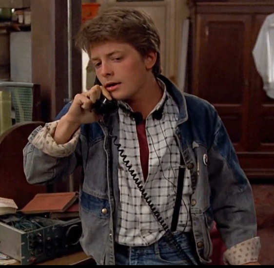 Marty McFly 1985 denim jacket screenshot reference from Back to the Future.