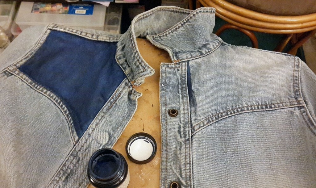 In progress as I modify a denim jacket to be my ladies version of the 1985 Marty McFly two-tone jean jacket.