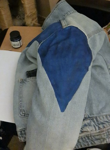 Making the dark denim sleeve points of my Marty McFly cosplay.