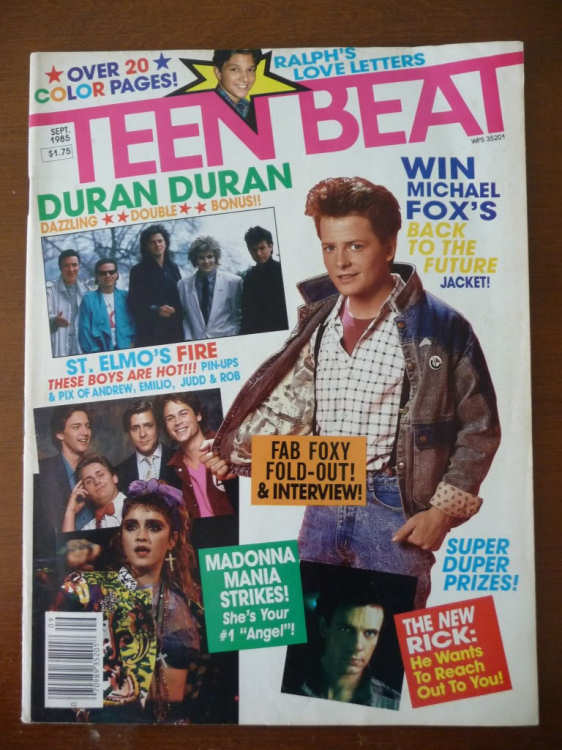 September 1985 Teen Beat Cover with Back to the Future Win Michael J. Fox / Marty McFly's Jacket contest.