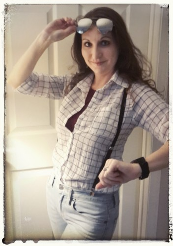 Me in my Marty McFly female cosplay in progress. (shirt, suspenders, jeans, watch but no denim jacket or puffer vest here.)