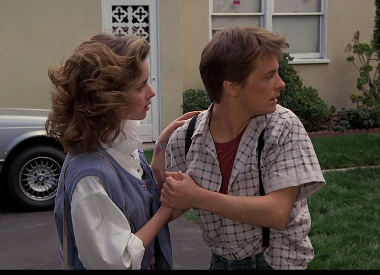 Marty McFly white and black windowpane shirt reference screenshot from Back to the Future.