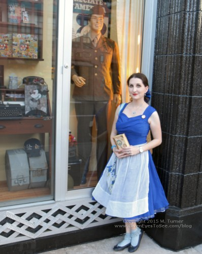 "Me in my Dapper Day Belle provincial town blue dress disneybound at the Fall Soiree in Disney""s Hollywood Studios October 3, 2015."