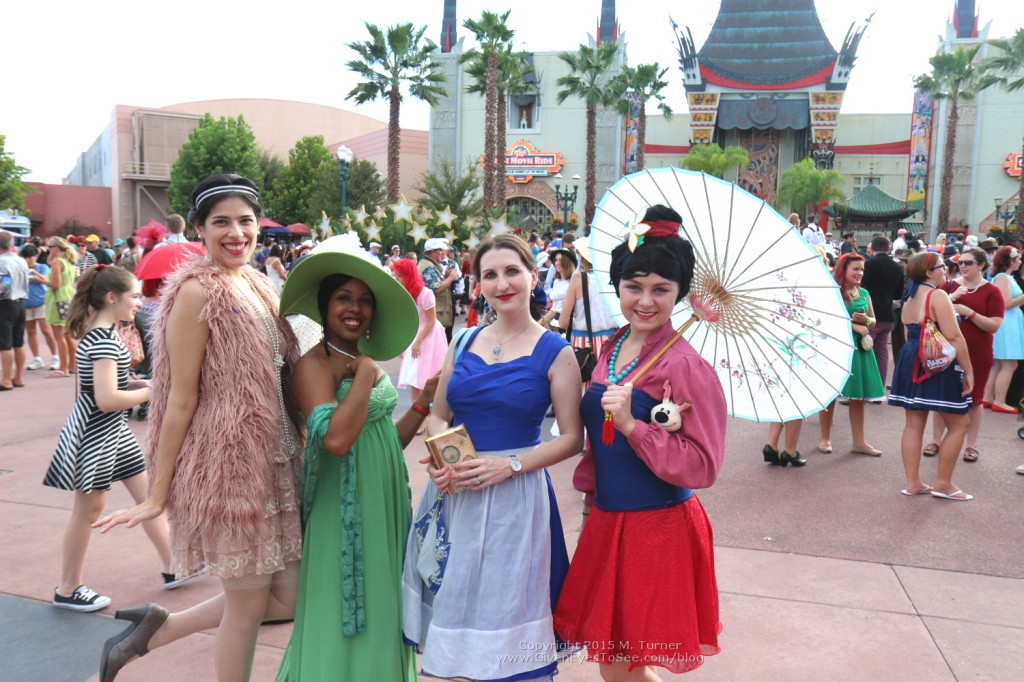Disneybounding for Dapper Day including Tiana, Belle (blue dress) and Mulan. Fall Soiree Disney's Hollywood Studios, October 3, 2015.