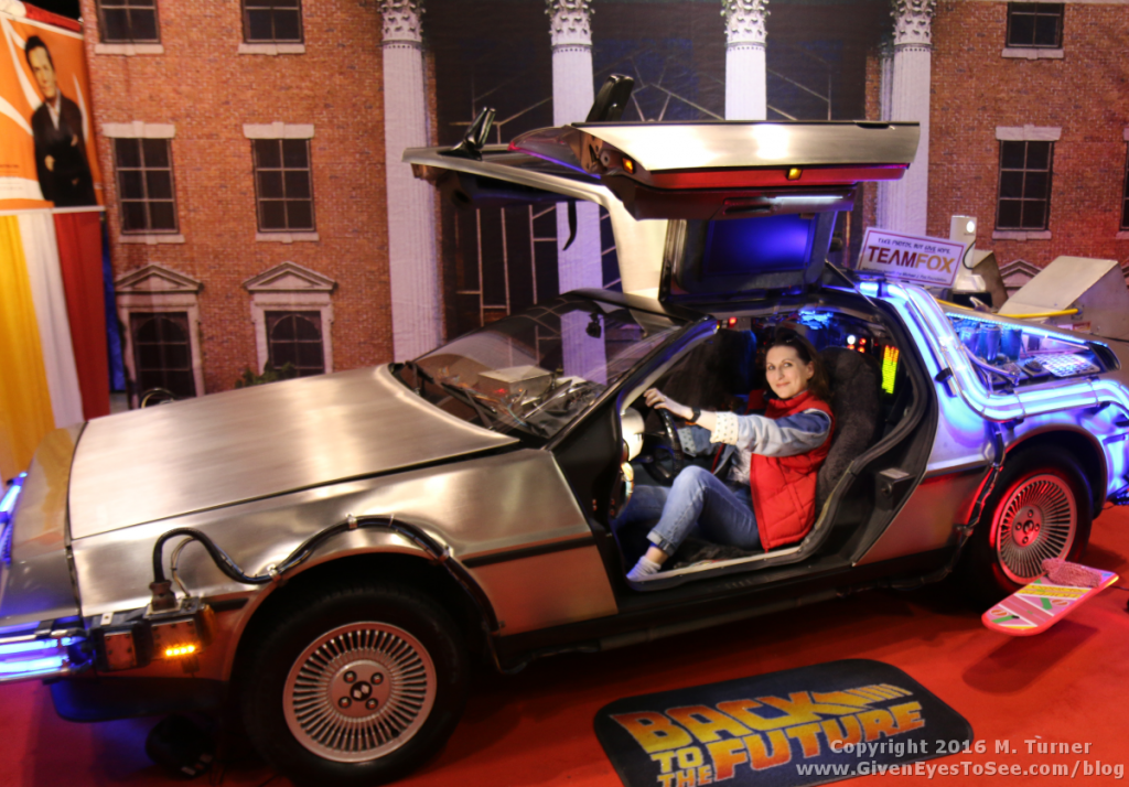Me in my female Marty McFly cosplay in the Holler DeLorean Time Machine at Megacon 2016.
