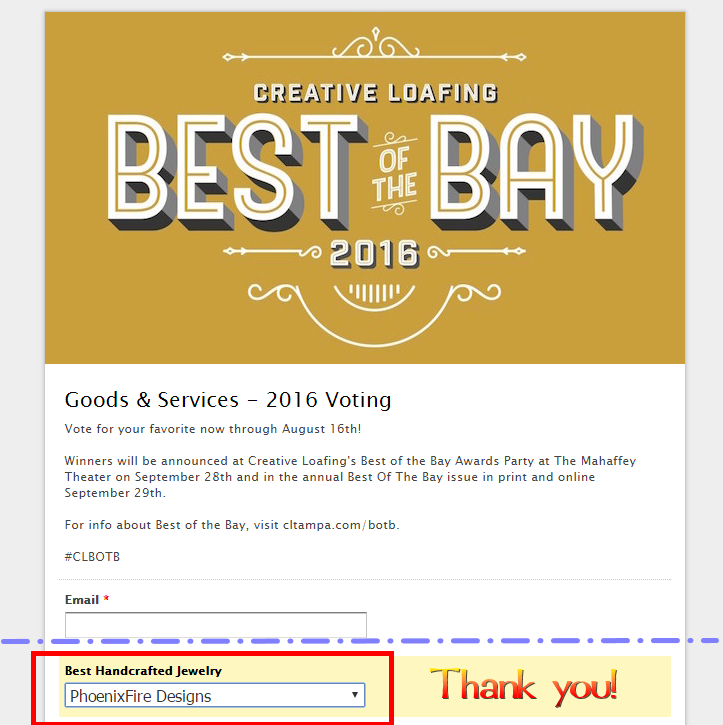 "Vote PhoenixFire Designs for Best Handcrafted Jewelry in Creative Loafing""s Best of the Bay 2016"